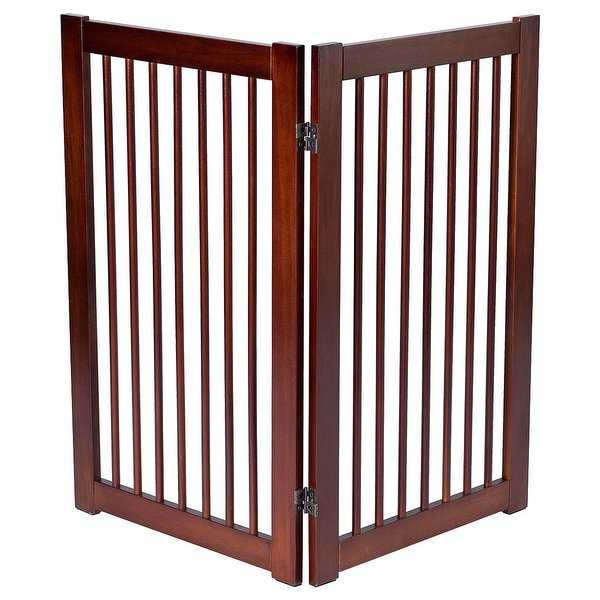 Gymax 36'' Configurable Folding Free Standing 2 Panel Wood Pet Dog Safety Fence w/ Gate - cherry