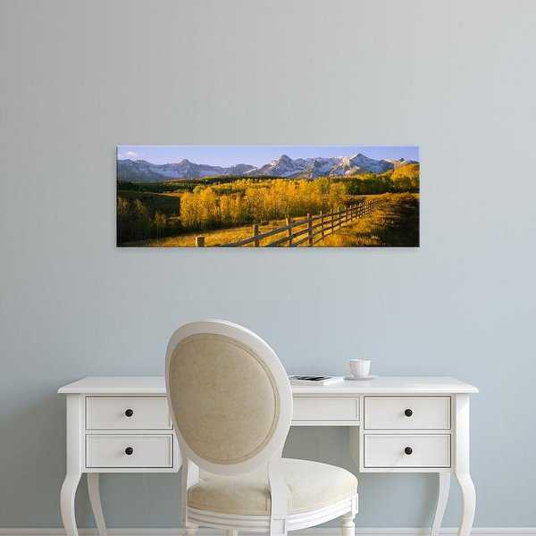 Easy Art Prints Panoramic Image 'Trees in field, wooden fence, Dallas Divide, San Juan Mountains, Colorado' Canvas Art