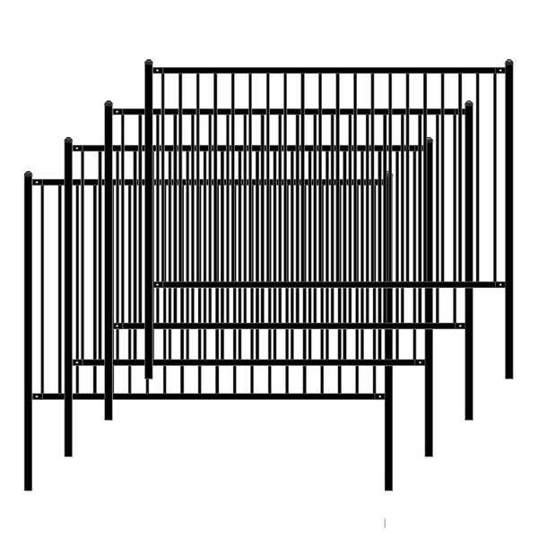 ALEKO Self Unassembled Lyon Style Steel Fence 8' x 5' Black Lot of 4