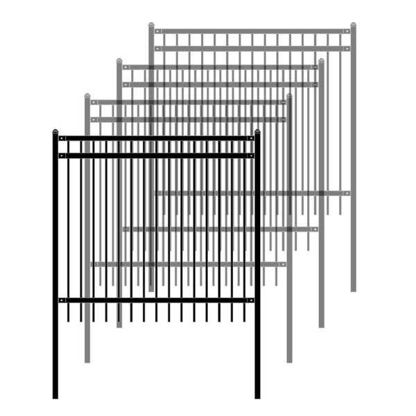 ALEKO Self Unassembled Steel Nice Style Fence 6' x 6' Black, Lot of 4